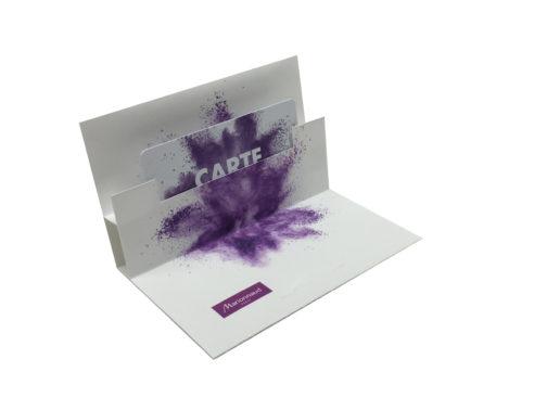 dépliant pour carte produit par pouchcard